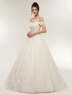 Princess Wedding Dresses Off The Shoulder Ivory Bridal Dresses Lace Applique Tulle Floor Length Ball Gowns_4