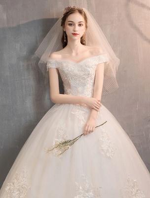 Elfenbein Brautkleider Tüll Schulterfrei Spitze Applique Bodenlangen Prinzessin Brautkleid_6
