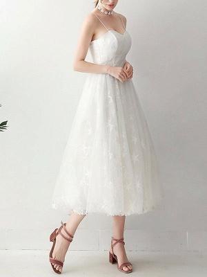 Short Wedding Dress2021 A Line Sweetheart Neck Sleeveless Tea Length Natural Waist Tulle Bridal Dresses_3