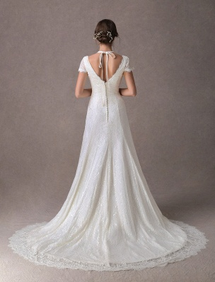 Lace Wedding Dresses Ivory V Neck Short Sleeve A Line Straps Bridal Gowns With Train Exclusive_6
