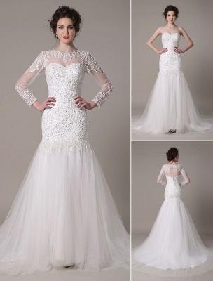 Pailletten-Hochzeit-Kleid-Abnehmbar-Ausschnitt-Spitze-Applikation-Meerjungfrau-Gericht-Zug-Brautkleid-Exklusiv_1