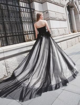 Schwarzes Festzug Partykleid Frauen Trägerlose Tüll Luxus Prinzessin Kleider_5