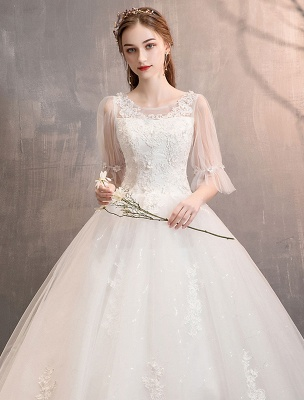 Tüll Brautkleid Elfenbein Spitze Applique Blumendetail Halbarm Prinzessin Brautkleid_5