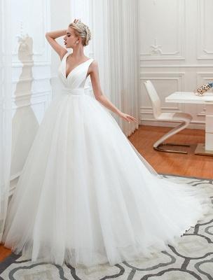 Princess Wedding Dress 2021 Ball Gown V Neck Sleeveless Natural Waist Court Train Bridal Gowns_6