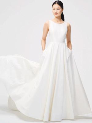 Weißes Vintage Brautkleid Kapelle-Schleppe Trägerlos Ärmellose Taschen Satin Stoff Traditionelle Kleider Für Die Braut_1