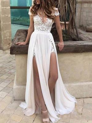 Robes de mariée Boho 2021 en mousseline de soie col en V profond à manches courtes en dentelle appliquée Split Front Beach Robes de mariée_1