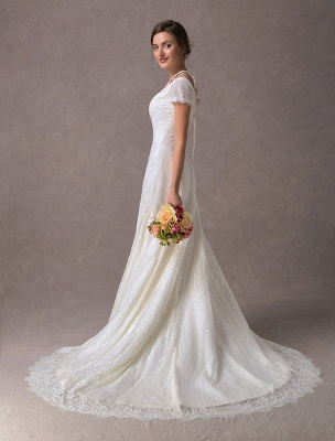 Lace Wedding Dresses Ivory V Neck Short Sleeve A Line Straps Bridal Gowns With Train Exclusive_7