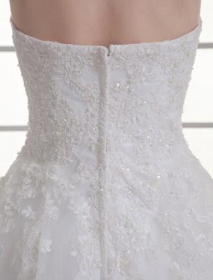 Vestido de novia de red de abalorios sin tirantes con cuello en color marfil_8