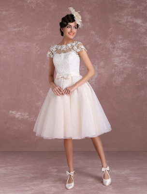 Vintage Wedding Dresses Short Lace Applique Bridal Gown Illusion Bow Sash Bridal Dress Exclusive_2