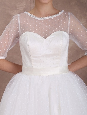 Vintage Brautkleid 50er Jahre kurzes Brautkleid Elfenbein rückenfrei Polka Dot halbe Ärmel Schatz Schleife Schärpe Weddig Empfangskleid exklusiv_7