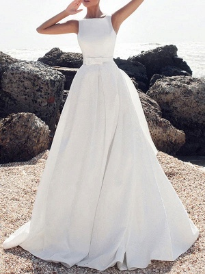 Vintage Wedding Dresses Jewel Neck Sleeveless Bows With Train Satin Fabric Bridal Gowns_2