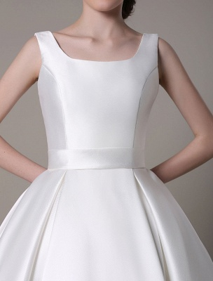 Ivory Wedding Dress Scoop Backless Knee Length Satin Wedding Gown Exclusive_16