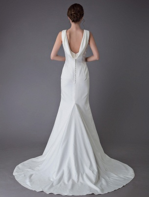 Brautkleider Elfenbein Mantel Einfaches Brautkleid mit Wasserfallausschnitt Strandhochzeitskleider mit Zug Exklusiv_7