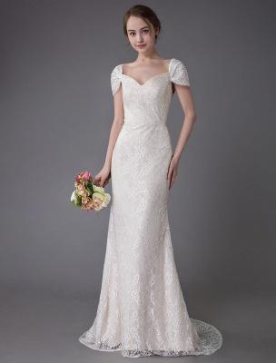 Robe de mariée en dentelle crème vanille chérie robe de mariée à manches courtes robe de mariée sirène avec train exclusif_1