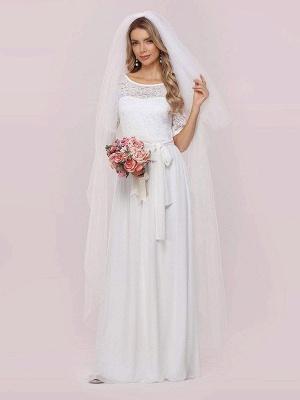 Weißes Einfaches Brautkleid Chiffon Jewel Neck Kurze Ärmel Schärpe A-Linie Lange Brautkleider_5