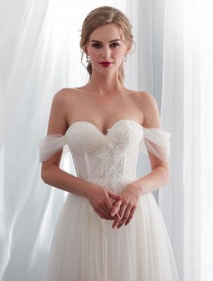 Brautkleider Tüll Elfenbein Schulterfrei Sweetheart Beach Brautkleid mit Schleppe_7
