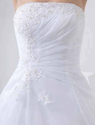 Robes de mariée blanches sans bretelles robe de mariée dentelle perles côté robe de mariée drapée avec train_7