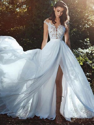 Wedding Dresses With Court Train A-Line Sleeveless Applique Illusion Neckline Bridal Gowns_1