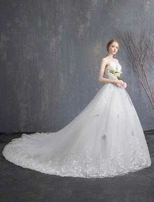 Spitze Brautkleider Elfenbein Trägerlos Ärmellos Applique Prinzessin Brautkleid Mit Zug_5