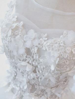 Prinzessin Brautkleider Ballkleider Spitze Blumen Applique Ärmellose Brautkleider Mit Zug_7