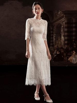 Weißes einfaches Brautkleid A-Linie Jewel Neck Half Sleeves Lace Tee Länge Brautkleider_1