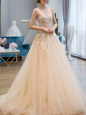 Wedding Dress 2021 Princess Silhouette Floor Length Jewel Neck Sleeveless Natural Waist Lace Tulle Bridal Gowns_3