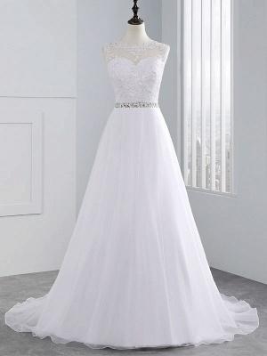Brautkleider 2021 A Line Perlen Jewel Neck Ärmellos Bodenlangen Tüll Traditionelles Brautkleid Mit Schleppe_3