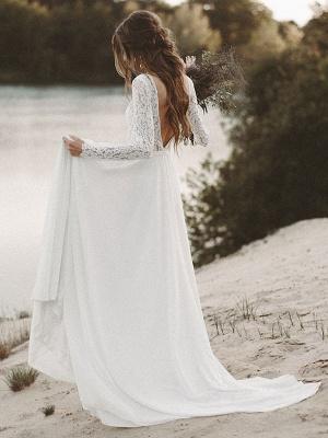 Einfache Hochzeitskleid A-Linie V-Ausschnitt Langarm Bodenlangen Chiffon Spitze Brautkleider_3