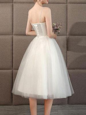 Wedding Dresses Sweetheart Neck Sleeveless A Line Tea Length Short Bridal Dress_2