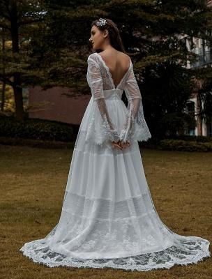 Brautkleider Boho Brautkleid mit langen Ärmeln Spitze V-Ausschnitt Spitze Chiffon Brautkleider Exklusiv_2