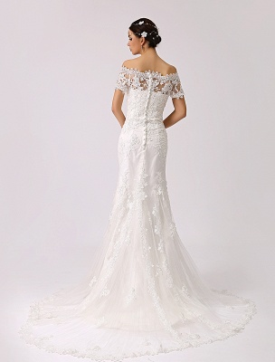 Vintage Inspired Off The Shoulder Mermaid Lace Wedding Dress Exclusive_3