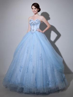 Robe de mariée bleue robe de bal en dentelle longueur au sol chérie sans bretelles perles princesse robe de mariée exclusive_2