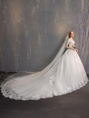 Ballkleid Prinzessin Brautkleider Elfenbein Spitze Perlenketten Schulterfrei Brautkleid_5