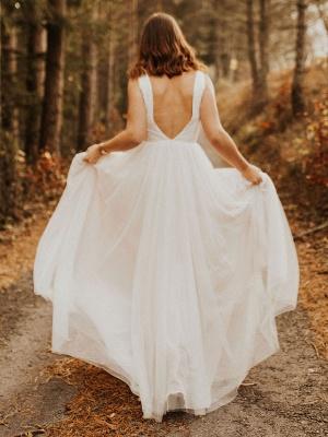 Einfache Hochzeitskleid Backless Brautkleider Chiffon V-Ausschnitt A-Linie Brautkleider_9