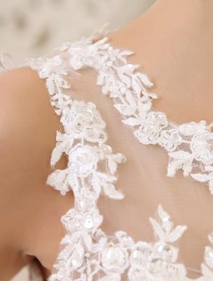 Elfenbeinfarbenes Duchesse-Linienkleid mit Juwelen-Ausschnitt und Pailletten Kapelle-Schleppe-Brautkleid exklusiv für die Braut_8
