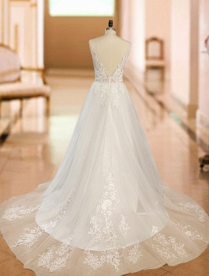 Simple Wedding Dress 2021 A Line V Neck Straps Sleeveless Lace Appliqued Tulle Bridal Gown_6