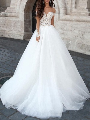 Princess Wedding Dress 2021 Ball Gown Sweetheart Neck Long Sleeves Backless Lace Tulle Bridal Dresses With Court Train_1