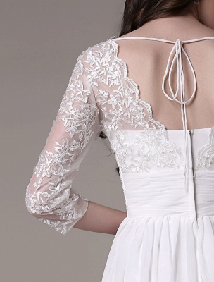 Simple Wedding Dressses Chiffon V Neck Lace A Linepleated Bridal Dress Exclusive_7