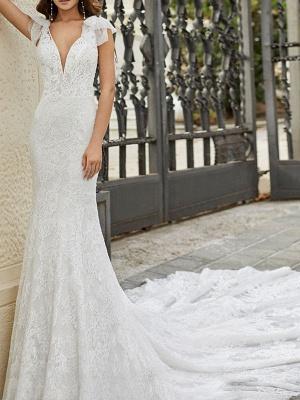 Brautkleid mit Zug Meerjungfrau Kleid Ärmellos Spitze V-Ausschnitt Lange Brautkleider_1