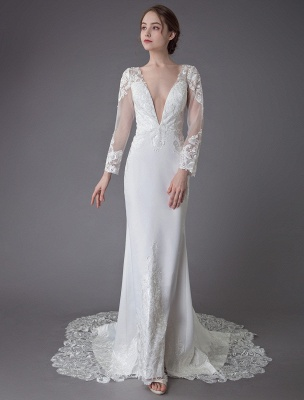Beach Wedding Dresses Ivory Lace V Neck Long Sleeve Mermaid Bridal Gown With Train Exclusive_5