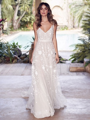 Wedding Dress With Train A Line Sleeveless Lace V Neck Bridal Gowns_1