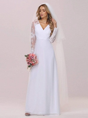 White Simple Wedding Dress Lace V-Neck Long Sleeves Lace Chiffon Pleated A-Line Long Bridal Gowns_5