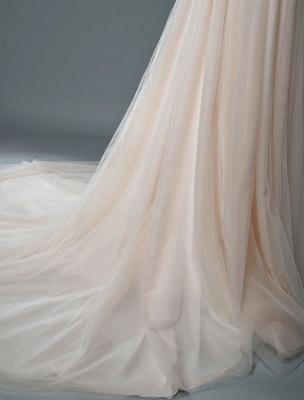 Einfaches Hochzeitskleid A-Linie V-Ausschnitt ärmellose Applikationen Perlen bodenlangen Brautkleider_9