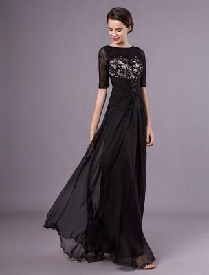 Schwarze Abendkleider Halbarm Spitze Perlen Chiffon Lange Abendkleider Hochzeitsgast Kleid_3
