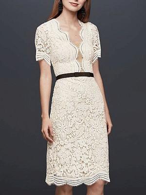 Einfache Brautkleider V-Ausschnitt Kurze Ärmel Mantel Knielang Vintage Brautkleider Exklusiv_1