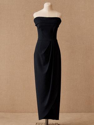 Einfaches Hochzeitskleid Schwarz Stretch Krepp Bateau-Ausschnitt Kurze Ärmel Plissee Etui Brautkleider_5