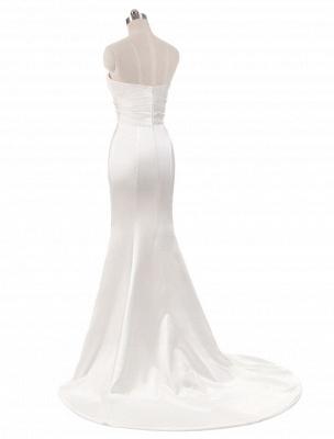 Ivory Wedding Dresses Strapless Mermaid Evening Dresses V Neck Sleeveless Split Beach Bridal Gown With Court Train_3