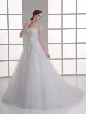 Vestido de novia de red de abalorios sin tirantes con cuello en color marfil_3