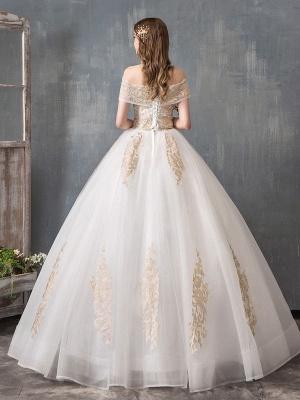 Robes de mariée 2021 robe de bal hors épaule dentelle dorée appliqued étage longueur robe de mariée_3