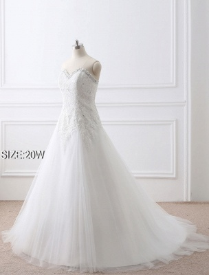 Tulle Wedding Dress Lace Beading Bridal Gown Strapless Sweetheart Chapel Train A-Line Backless Bridal Dress_11